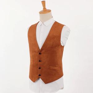 Chaleco de gamuza marrón Hombres Traje de época Chaleco Chaqueta de estilo británico Hombre Slim Fit Chaleco de cuero de un solo pecho