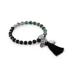 Mulheres / homens unisex Magnetic Pedra Natural Hematite Bracelet Saúde Preto magnetita Malaquita poder da cura de cristal Bangle