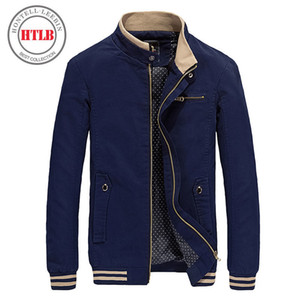 Wholesale-HTLB 2017 Brand New Autumn Men Casual Jacket Coat Mens Fashion Washed 100% Cotton Brand-Clothing Jackets Male Coats Zipper Sales