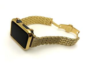 24k banhado a ouro apple assista tampa da caixa case + ouro diamantes de aço inoxidável watch band para apple watch s1 / s2 / s3 42mm (2em1 set)