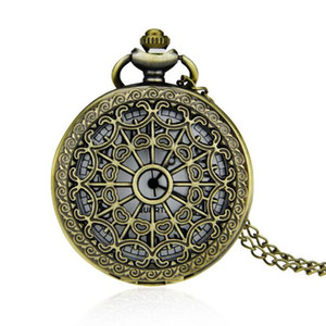 Vintage bronze pocket watch classic hollow spider web pocket watch quartz pocket watch fashion full of age