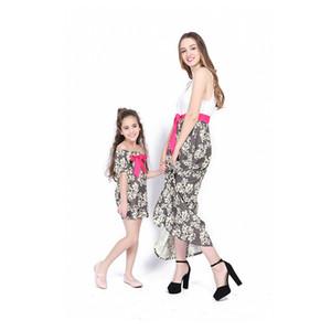 Nova Mãe Filha Roupas Daughter Girl Grande Arco Vestido de Manga Curta Mãe Vest Patchwork Floral Vestido Longo Mamãe e Me Combinando Roupas