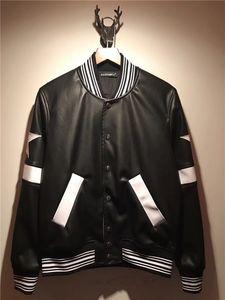 2019 moda Marka Motosiklet Deri Ceketler düğmeler şerit Erkek Deri Giyim Erkek Deri Jackets2018 marka moda lüks tasarımcı