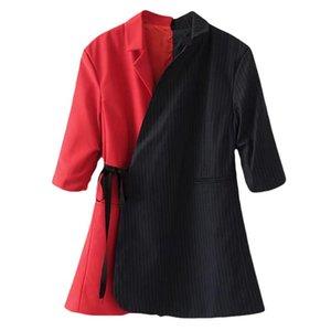GETSRING Mujeres Blazer Mujeres Blazers Stripped Chaqueta de traje suelto largo Empalme asimétrico Primavera Otoño Mujeres Abrigos Chaquetas