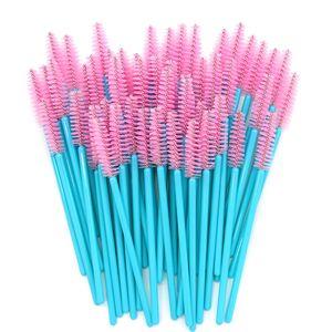 Tek kullanımlık Maskara Wands Mavi Kolu Pembe Kafa Lashes Fırçalar 500 adet / grup Naylon Makyaj Fırçalar Kirpik Uzatma Araçları