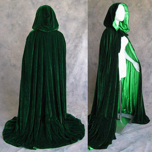 2020 hot Long Velvet Christmas Hooded Cloak Bridal Cloaks Capes Winter Halloween Floor Length Jacket Wedding Bridesmaid Wraps