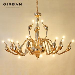 Girban Marke Moderne Dekoration G4 Beleuchtung Europäischen Schwan Kronleuchter Kerze Kristall LED Deckenleuchter Schlafzimmer Wohnzimmer