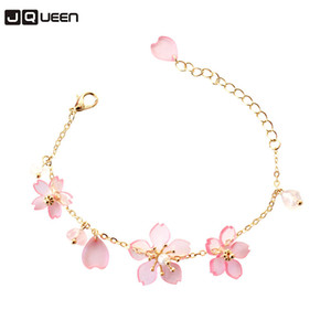 New Fashion Cherry Blossoms Bracelets & Bangles Cute Flower Cuff Bracelets for Women Girls Chain Link Charm Bracelet pulseras