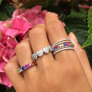 Arco-íris cz eternidade banda anel banhado a ouro 925 prata esterlina banda de noivado colorido multi cor cz pedra elegância mulheres dedo jóias