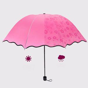 Magic Flower Bloom bei Regen / Wasserfall SunRain Umbrella Windproof Compact Lightweight Color UV-beständige Regenschirme 5 Farben