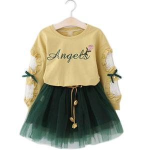 New Girls Ropa Traje de manga larga T Shirt + Falda de hilo 2 PCS Conjunto Letra Flower Lace Bow Niños Juego de otoño