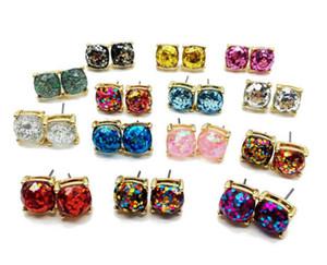 2pcs = 1pair Square Glitter Sweet Earring Stud per il partito Orecchino carino Elegante orecchino R167