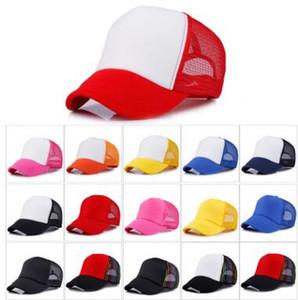 16 renkler Çocuklar Kamyon Şoförü Kap Yetişkin Örgü Kapaklar Boş Kamyon Şoförü Şapka Snapback Şapka Özel Made Logo Kabul 10 adet