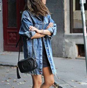 Bayan Yüksek Sokak Gevşek Denim Ceketler Palto Uzun Ceketler Ripped Tasarım Moda Denim Palto Bayan Kabanlar Ceketler Tops