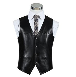 BONJEAN мужская Slim Fit натуральная кожа жилет повседневная бизнес костюм овчины кожаный жилет топы высокое качество груза падения
