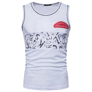 Men T shirt Letter Printed Breathable Cotton Casual Tops Tees Summer Fashion Sport Tank Top M-2XL Size