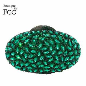 Boutique De FGG Emeral Green Crystal Evening Clutches Bag Hollow Out Women Metal Clutch Purse Wedding Party Prom Dinner Handbag
