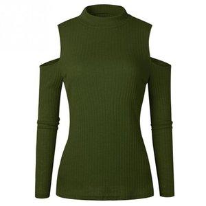 Automne Hiver Femmes Chandail Chemises Col Haut Tricoté Découper Froid Épaule Jumper Tops Vert Rouge Abricot Gris Noir