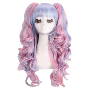 Womens Lolita met en valeur le long clip bouclé sur les perruques cosplay Ponytails