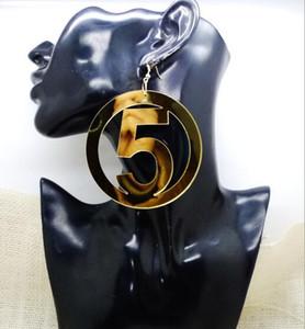 Bohème Rétro Grand Cercle Boucles D'oreilles Numéro 5 Eardrop 18 K Plaqué Or Crochet Boucle D'oreille Femmes Partie Bijoux Club De Danse Accessoires