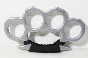 Nueva Silver Brass Knuckles Survival Stainless Brass Knuckles Supervivencia táctica Multifuncional Self Defense EDC Dusters con cuerda