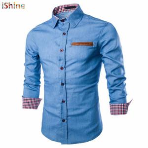 Taktik Iş Denim Gömlek Erkekler Rahat Kot Elbise Gömlek Camisa Sosyal Masculina Slim Fit Bluz Sonbahar Uzun Kollu Blusas