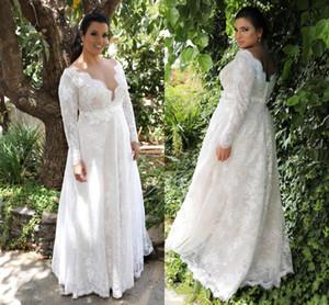 Jardín una línea de cintura del imperio vestidos de novia de encaje de tamaño con las mangas largas largo atractivo de los vestidos de boda vestidos de novia Plus Para DH391