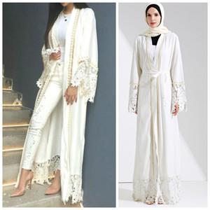 Muslim Spitze Maxi Abaya Stickerei Cardigan-Perlen-lange Roben Tunika Kimono Jubah Mittlerer Osten Ramadan Arabische Islamische Kleidung