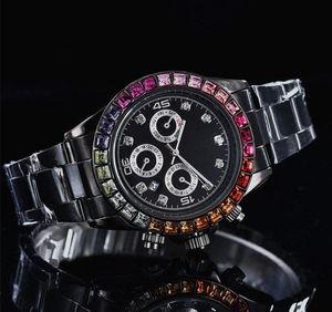 relogio masculino полный Алмаз мужские часы роскошные наручные мода черный циферблат автоматический календарь золотой браслет складной Застежка мастер мужской подарки
