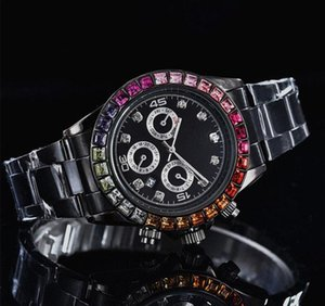 Relogio masculino Diamante completo Relojes para hombre Moda de muñeca Negro Dial Automático Calendario oro Pulsera Broche plegable Maestro Hombre regalos