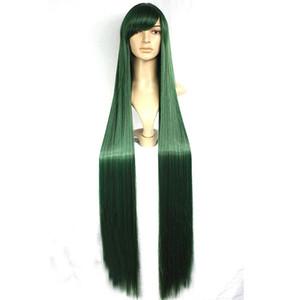 Cosplay Party Costume Wig para Sailor Pluto Moon Meiou Setsuna Long Green