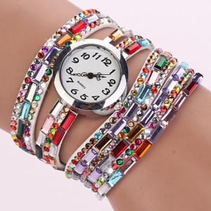 wengle New 2018 fashion sell like hot cakes Diamond Ms Circle Bracelets Colorful Three circles Quartz watch