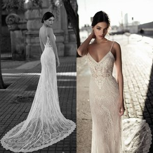 Stylish Mermaid Lace Wedding Dresses V Neck Appliqued Bohemian Backless Bridal Gowns Trumpet Tulle Sweep Train vestido de novia