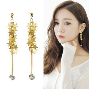 designer jewelry earrings for women S925 sterling silver needle pentagram fringe long earrings hot fashion free of shipping