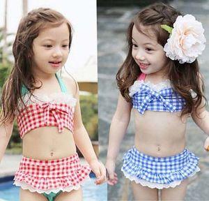 Maillot de bain été bébé bikini maillot de bain pour bébé jupe costume maillot de bain bretelles à carreaux imprimé pour les filles enfants maillot de bain à volants