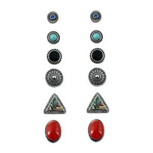 Prebeauty 6 pares / set super valor Bohemia étnica turq resina pedra charme triângulo shell shinny cristal requintado stud brinco conjunto para as mulheres