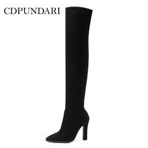 CDPUNDARI Stretch Fabric over the knee boots women thigh high boots Winter shoes woman botas mujer bottine femme