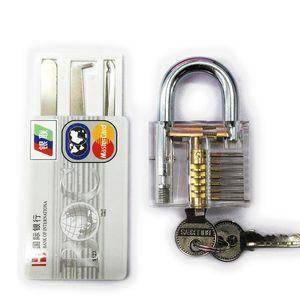 أدوات الأقفال أداة قفل قفل اختيار الممارسة شفافة + 5 قطع قفل الباب اللقطات بطاقة الائتمان يختار قفل BK155