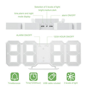 1 PCS Modern Wall Clock Large 3D LED Digital LED Table Clock Watches Display Mechanism Alarm Snooze Desk Alarm CA