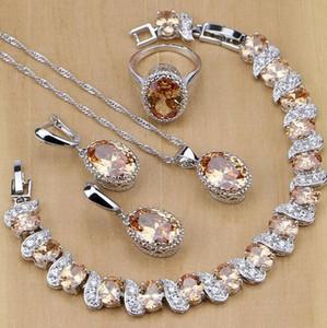 Bijoux S925 Sterling Silver Bijoux de mariée Champagne Zircon Jeux de bijoux pour femmes Boucles d'oreilles / Pendentif / Collier / Anneaux / Bracelet