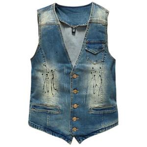 Hot Hommes Denim Vest Marque Jeans Hommes Cowboy Vintage Casual Sans Manches Trous Personnalisé Cardigan Hommes Veste