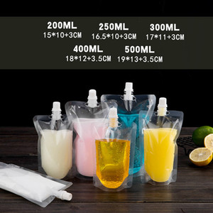 Stand-up Plastic Drink Packaging Bag Spout Pouch for Beverage Liquid Juice Milk Coffee 200-500ml LX0080