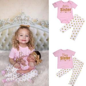 Abbinabili abiti per la famiglia Big Sister Little Sister Set di abbigliamento Family Look Cotton 2 PCS Outfit Baby Girl Clothes H0203