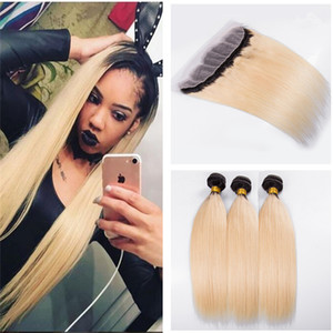 1B 613 Ombre Blonde Straight Hair 3 Bundles With Lace Frontal Closure Ombre 10A Brazilian Virgin Human Hair Extension Lace Frontal with Weft