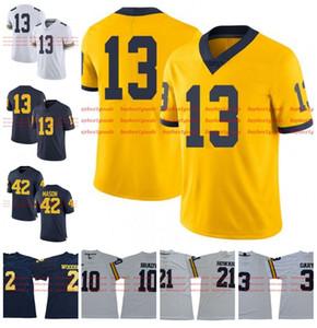 Пользовательские NCAA Мичиган Росомахи 5 Jabrill Перец #13 Tru Wilson 42 Бен Мейсон 77 Тейлор Леван золото белый синий желтый колледж футбол Джерси