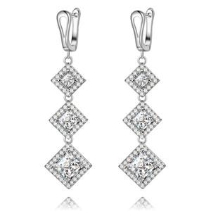 Vecalon 4 colors Lady Dangle earring Princess cut 5A Zircon Cz 925 Sterling silver Party wedding Drop Earrings for women Gift