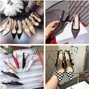 Zapatos de tacón alto de las mujeres atractivas bombas de punta en punta de malla negra 9 colores de las señoras de las sandalias de Gladiador verano zapatos de boda de diamantes de imitación