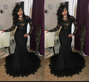 African 2021 Black Mermaid Prom Dresses Long Sleeves Lace Applique Jewel Neck Floor Length Formal Evening Dresses Party Gowns robes de bal