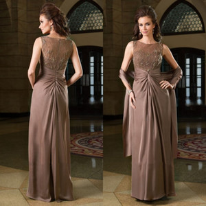 Custom Made Mãe dos Vestidos de Noiva Fantasia Uma Linha Illusion Lace Frisado Plissados Prom Vestidos Com Wraps Mães Vestido Formal Barato