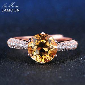 LAMOON Pavimento di lusso Impostazione 8mm 2ct Citrino Anello in argento sterling 925 gioielli con oro rosa placcato S925 per le donne LMRI001 Y1892606